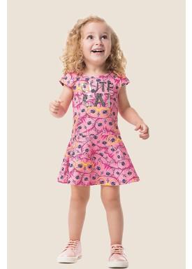 vestido cotton infantil feminino gatinhas rosa marlan 62471 1