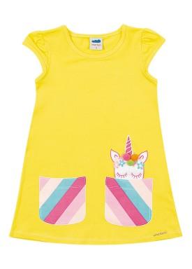 vestido cotton infantil feminino unicornio amarelo marlan 62483