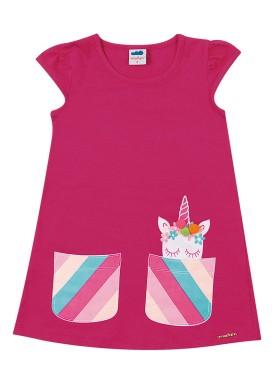vestido cotton infantil feminino unicornio pink marlan 62483