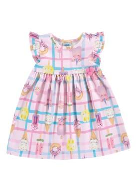 vestido ponto roma bebe feminino picoles rosa marlan 60381